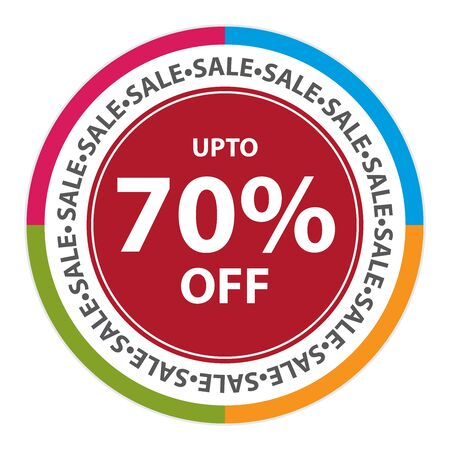 stock price quote: Colorful Circle Sticker, Label or Icon With Sale Up To 70% Off Sign Isolated on White Background Stock Photo