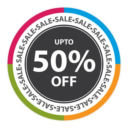stock price quote: Colorful Circle Sticker, Label or Icon With Sale Up To 50% Off Sign Isolated on White Background