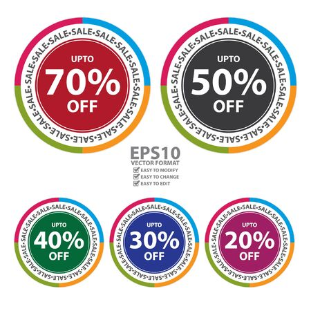 stock price quote: Vector : Colorful Circle Sticker, Label or Icon With Sale Up To 20% - 70% Off Sign Isolated on White Background