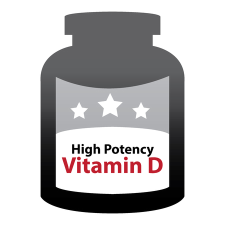 potency: Black High Potency Vitamin D Container Isolated on White Background