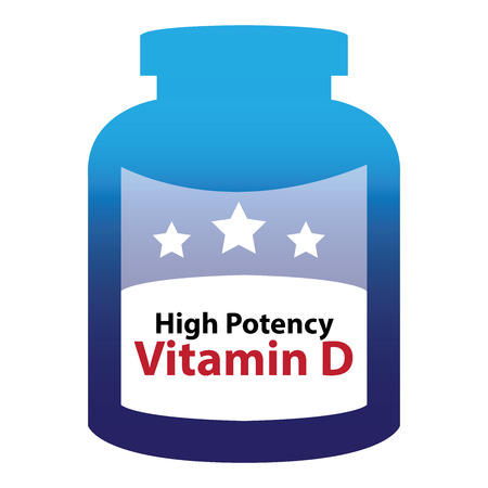 potency: Blue High Potency Vitamin D Container Isolated on White Background