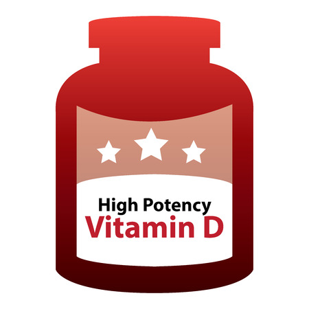 potency: red High Potency Vitamin D Container Isolated on White Background