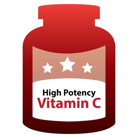 potency: Red High Potency Vitamin C Container Isolated on White Background