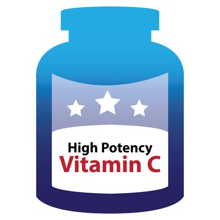 potency: Blue High Potency Vitamin C Container Isolated on White Background