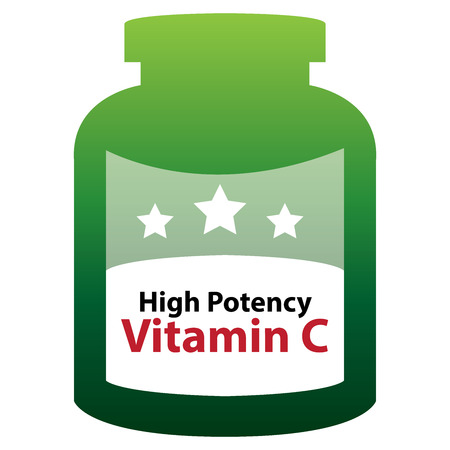 potency: Green High Potency Vitamin C Container Isolated on White Background Stock Photo