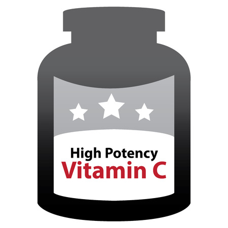 potency: Black High Potency Vitamin C Container Isolated on White Background Stock Photo