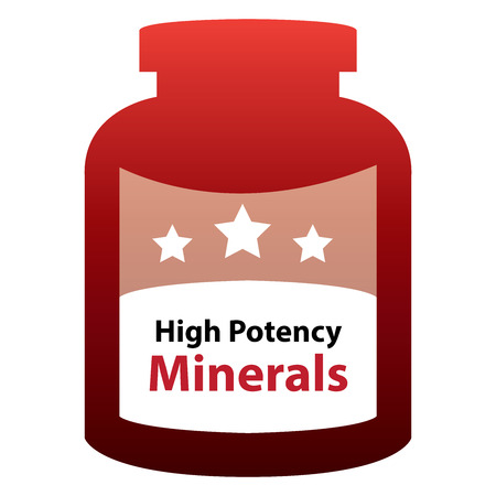 potency: Red High Potency Minerals Container Isolated on White Background