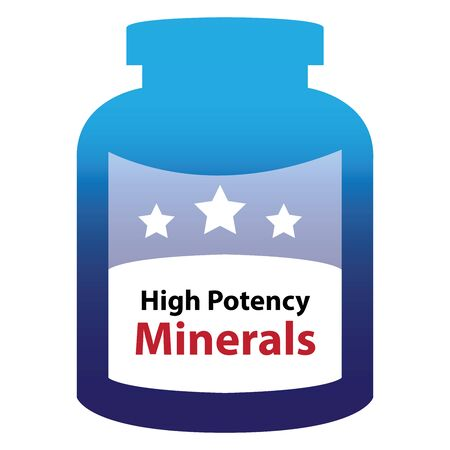 potency: Blue High Potency Minerals Container Isolated on White Background Stock Photo