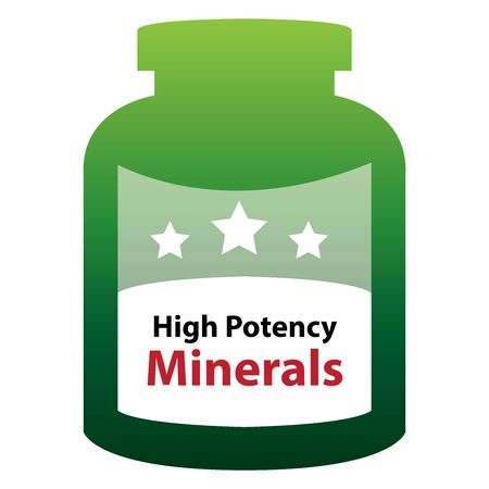 multivitamin: Green High Potency Minerals Container Isolated on White Background