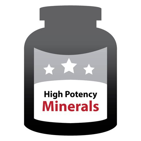 Black High Potency Minerals Container Isolated on White Background