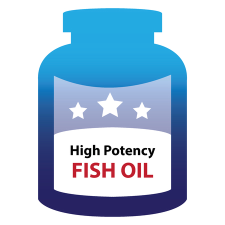 potency: Blue High Potency Fish Oil Container Isolated on White Background