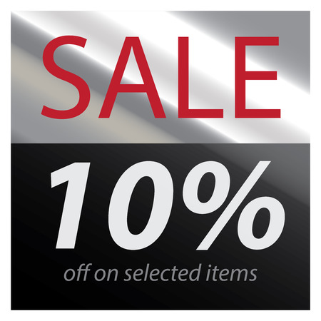 best ad: Silver Square Metallic Style Sale 10 Percent Off on Selected Items Sticker or Label Isolated on White Background Stock Photo