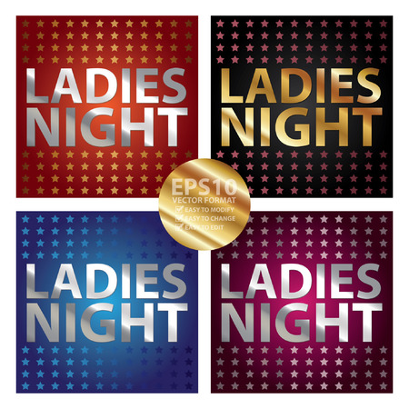 femine: Vector : Colorful Square Metallic Style Ladies Night Sticker or Label Isolated on White Background
