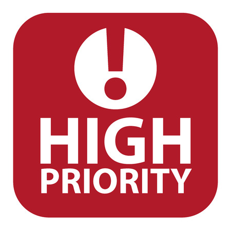 Red Square High Priority Icon, Sign, Sticker or Label Isolated on White Background