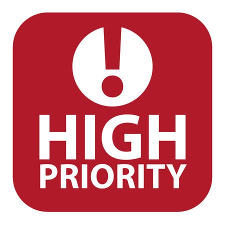 Rode Plein Hoge prioriteit pictogram, teken, sticker of label geïsoleerd op een witte achtergrond