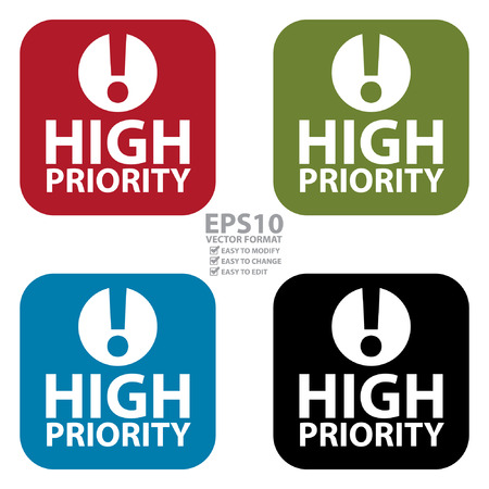 influential: Vector : Square High Priority Icon, Sign, Sticker or Label Isolated on White Background
