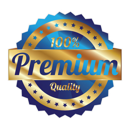 qc: Blue and Gold Metallic Style 100 Percent Premium Quality Icon, Badge, Sticker or Label Isolated on White Background Stock Photo