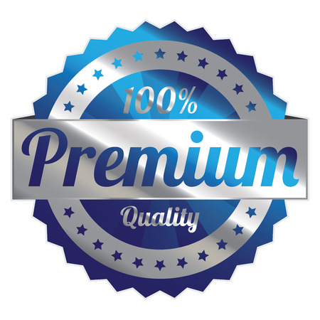 qc: Blue and Silver Metallic Style 100 Percent Premium Quality Icon, Badge, Sticker or Label Isolated on White Background