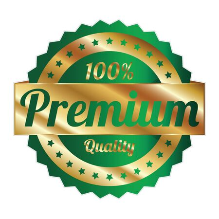 qc: Green and Gold Metallic Style 100 Percent Premium Quality Icon, Badge, Sticker or Label Isolated on White Background Stock Photo