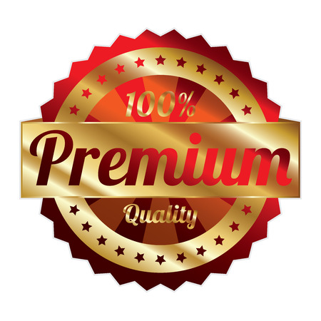 qc: Red and Gold Metallic Style 100 Percent Premium Quality Icon, Badge, Sticker or Label Isolated on White Background