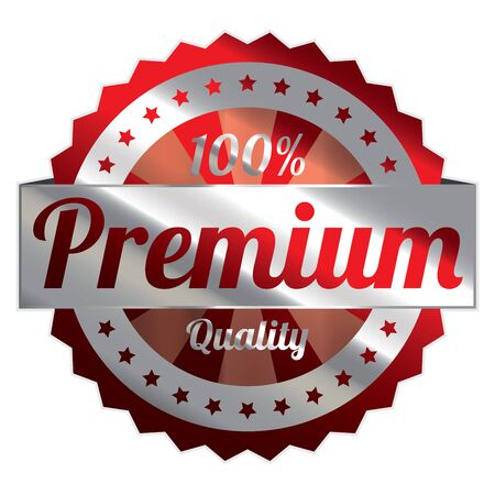 acceptable: Red and Silver Metallic Style 100 Percent Premium Quality Icon, Badge, Sticker or Label Isolated on White Background Stock Photo