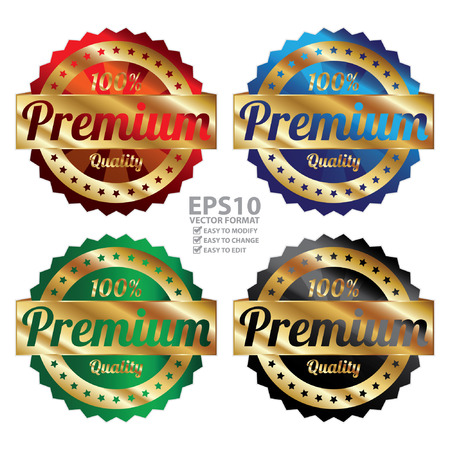 qc: Vector : Gold Metallic Style 100 Percent Premium Quality Icon, Badge, Sticker or Label Isolated on White Background
