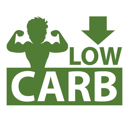 carb: Green Square Low Carb Label With Bodybuilder or Muscle Man Sign Isolated on White Background Stock Photo