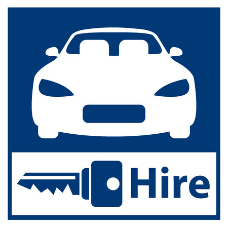 Blue Square Car Hire Or Car Rental Service Icon Sticker Or Label