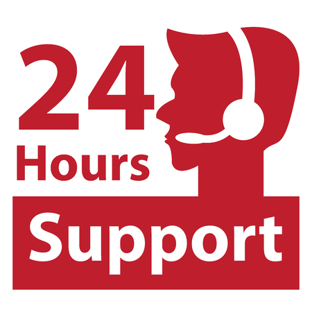 hrs: Red Square 24 Hours Support Label With Call Center Agent Sign Isolated on White Background Stock Photo