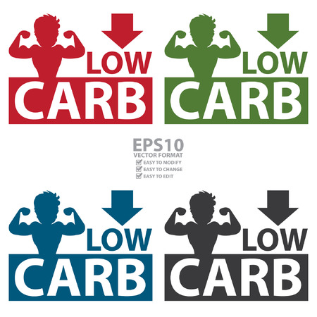 carb: Vector : Colorful Square Low Carb Label With Bodybuilder or Muscle Man Sign Isolated on White Background Illustration