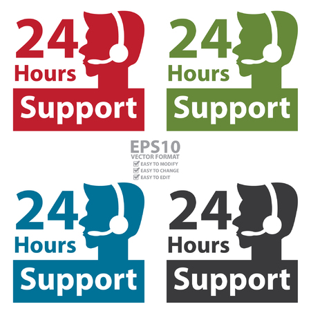 call center agent: Vector : Square 24 Hours Support Label With Call Center Agent Sign Isolated on White Background