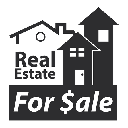 real ale: Black Real Estate for $ale Icon, Sign or Label Isolated on White Background