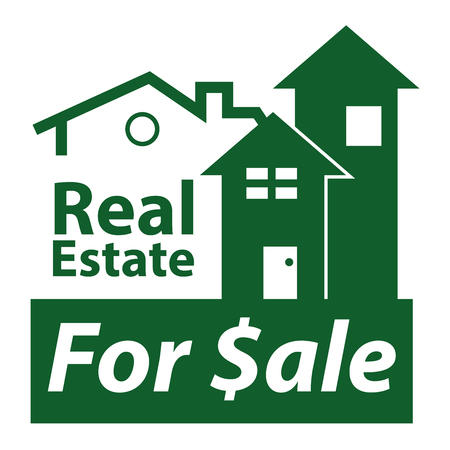 real ale: Green Real Estate for $ale Icon, Sign or Label Isolated on White Background Stock Photo