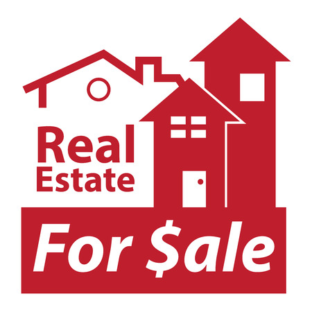 real ale: Red Real Estate for $ale Icon, Sign or Label Isolated on White Background Stock Photo