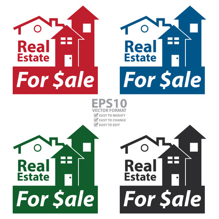 real ale: Vector : Real Estate for $ale Icon, Sign or Label Isolated on White Background