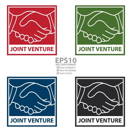 venture: Vector : Square Joint Venture Icon, Sticker or Label Isolated on White Background