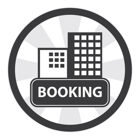 apartment suite: Black Circle Vintage Style Hotel or Apartment Booking Sign, Icon, Sticker or Label Isolated on White Background Stock Photo