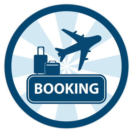 flight booking: Blue Circle Vintage Style Flight Booking Sign, Icon, Sticker or Label Isolated on White Background