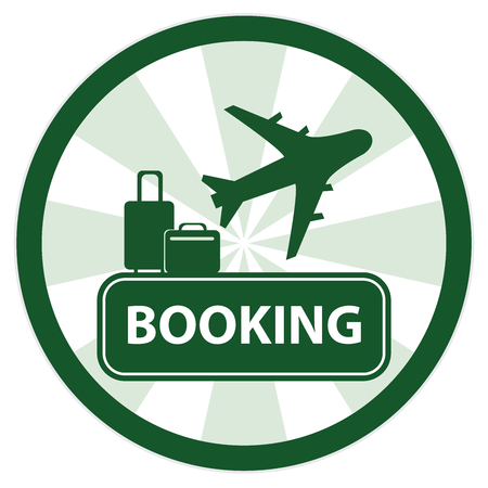 flight booking: Green Circle Vintage Style Flight Booking Sign, Icon, Sticker or Label Isolated on White Background