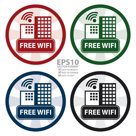 boardcast: Vector : Circle Vintage Free Wifi Hotel or Apartment Sign, Icon, Sticker or Label Isolated on White Background