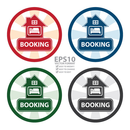 overnight: Vector : Circle Vintage Style Hotel, Motel ,Resort or Apartment Booking Sign, Icon, Sticker or Label Isolated on White Background Illustration