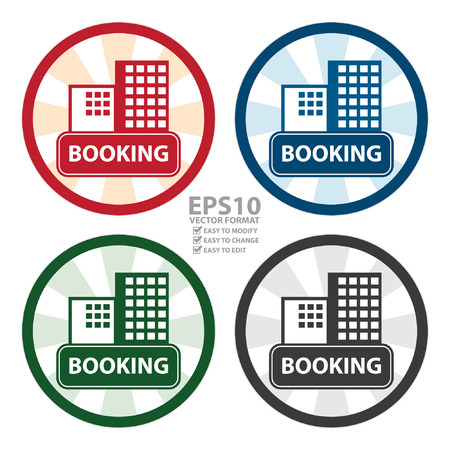 accomodation: Vector : Circle Vintage Style Hotel or Apartment Booking Sign, Icon, Sticker or Label Isolated on White Background Illustration