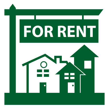 for rent sign: Green Home, Apartment, Building, Condominium or Real Estate For Rent Sign Icon, Sticker or Label Isolated on White Background