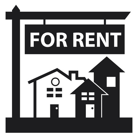 for rent sign: Black Home, Apartment, Building, Condominium or Real Estate For Rent Sign Icon, Sticker or Label Isolated on White Background Stock Photo