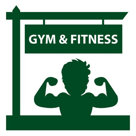 hunk: Green Gym and Fitness Road Sign With Bodybuilder or Muscle Man Sign or Icon Isolated on White Background Stock Photo