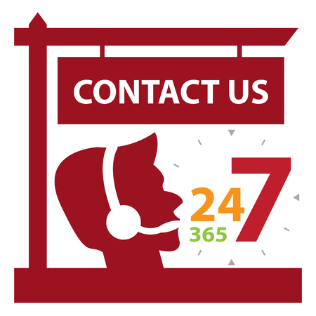 contact center: Red Contact Us and 24 7 365 Call Center Sign Icon, Sticker or Label Isolated on White Background