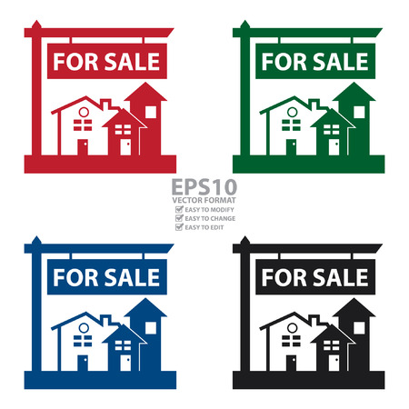 for sale sign: Vector : Home, Apartment, Building, Condominium or Real Estate For Sale Sign Icon, Sticker or Label Isolated on White Background