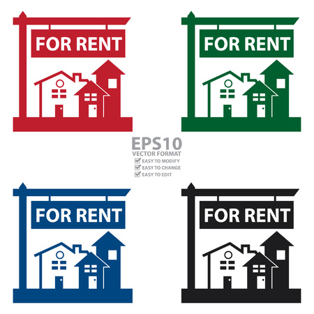 renting: Vector : Home, Apartment, Building, Condominium or Real Estate For Rent Sign Icon, Sticker or Label Isolated on White Background