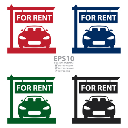 showroom: Vector : Car Showroom With Car For Rent Sign Icon, Sticker or Label Isolated on White Background
