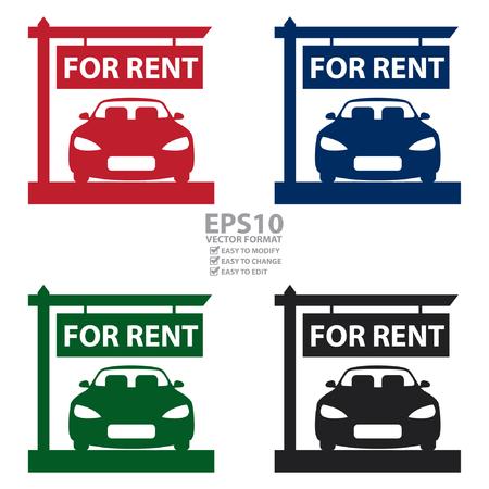 car showroom: Vectorial: Car Showroom Con El Coche En Renta icono de la muestra, la etiqueta engomada o etiqueta de aislados en fondo blanco